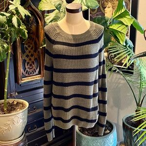 Express chain knit stripe crew pullover sweater